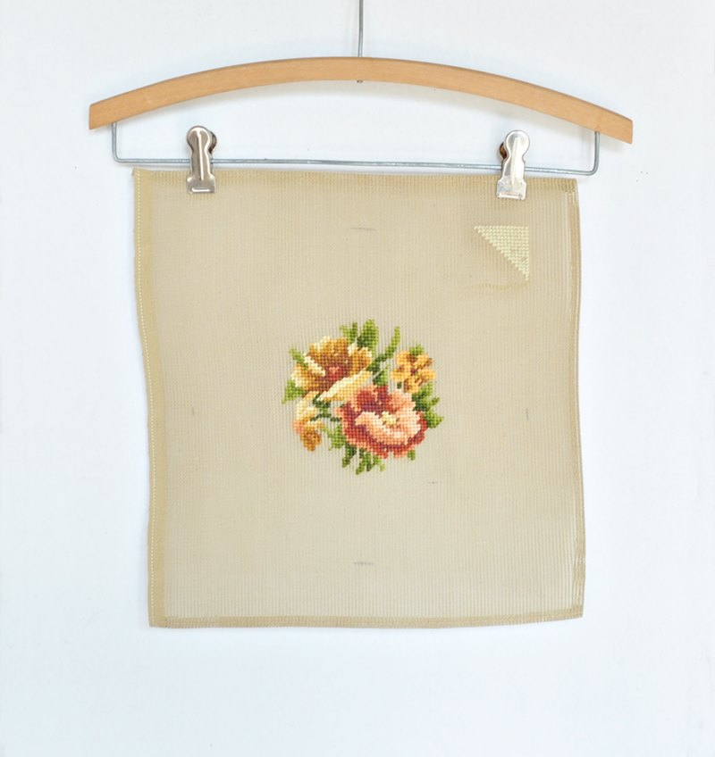 Brown Peach and Green Floral Preworked Needlepoint Canvas – Pillow Top To Finish