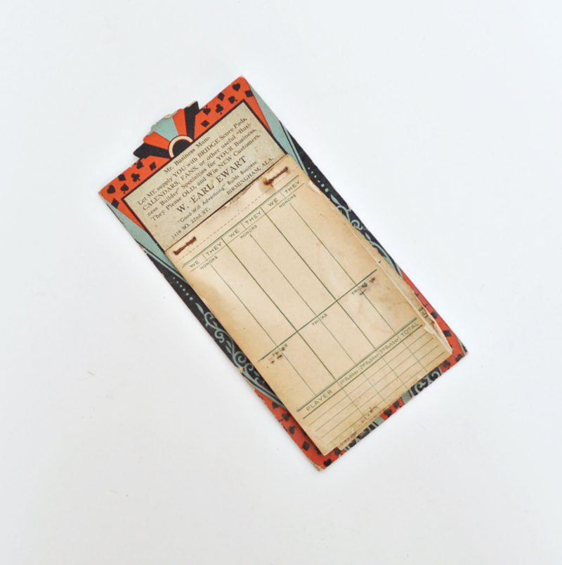 1930s Art Deco Bridge Tallies – Advertising Score Pad – Egyptian Revival – Birmingham Alabama