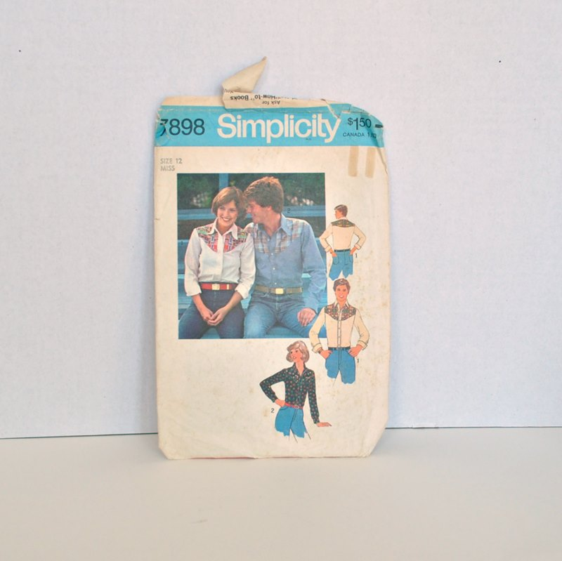 Simplicity 7898 – Vintage 1970's Western Shirt Pattern Misses Size 16 Bust 34″