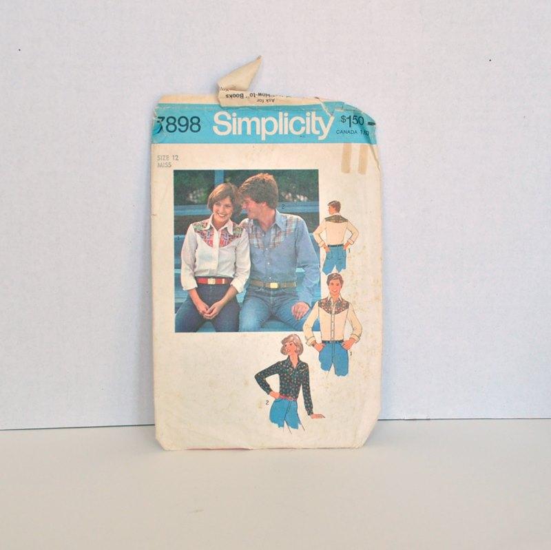 Simplicity 7898 – Vintage 1970's Western Shirt Pattern Misses Size 16 Bust 34″