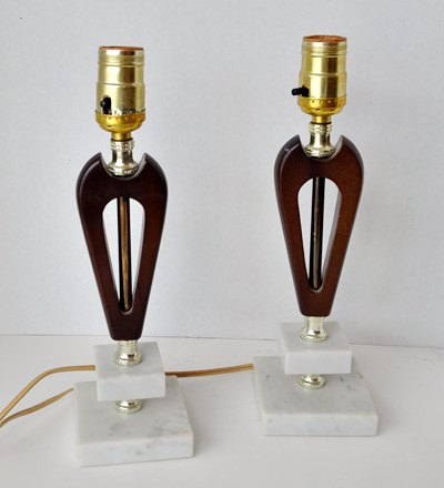 MCM Wood and Marble Lamps