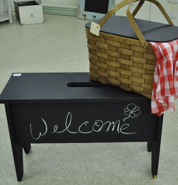 Chalkboard painted bench and picnic basket : Just Vintage Home