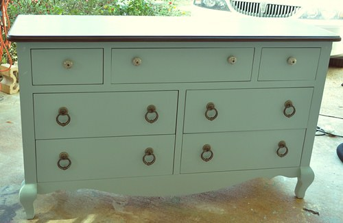 Pale blue and brown painted dresser