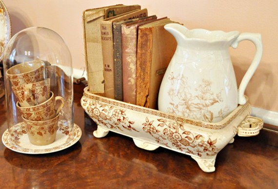 Decorating with brown transferware