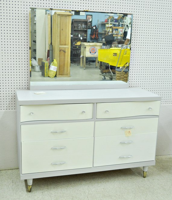 Gray and white mid century dresser : Just Vintage Home