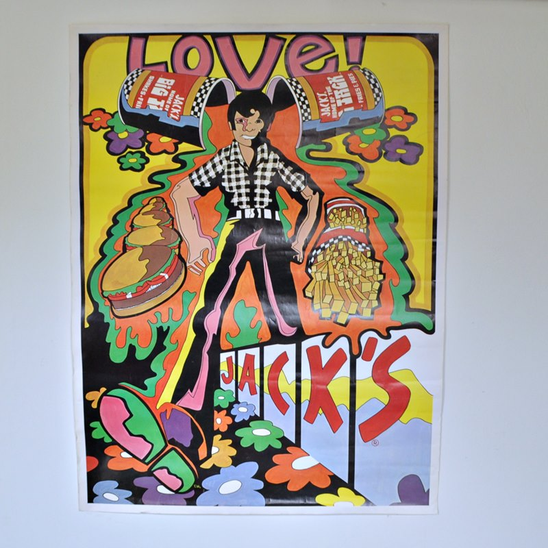 Very Rare Jack's Hamburgers Advertising Poster – Psychedelic 1970s