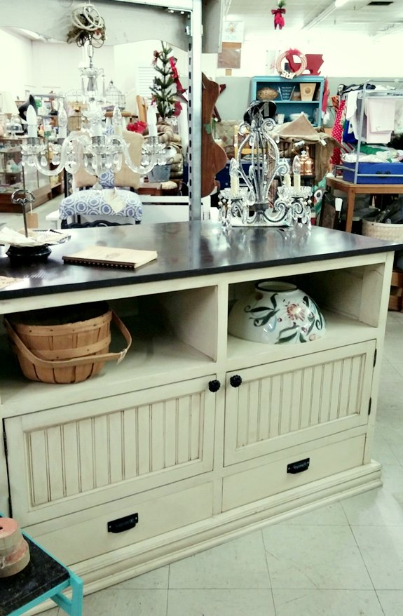 Booth arrangement featuring a hand made kitchen island