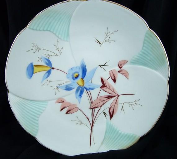 Vintage Floral Plate – Blue Columbines