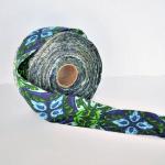 "Huge Roll of Vintage Sewing Trim - 3"" Wide Blue, Light Blue and Green Patterned"