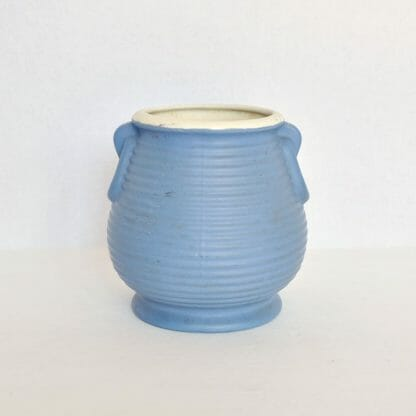 Ringed Beehive Blue Matte Coors Pottery Planter
