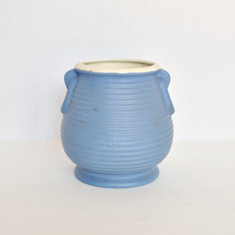 Blue Beehive Ringed Coors Pottery Vase with Applied Handles and White Rim