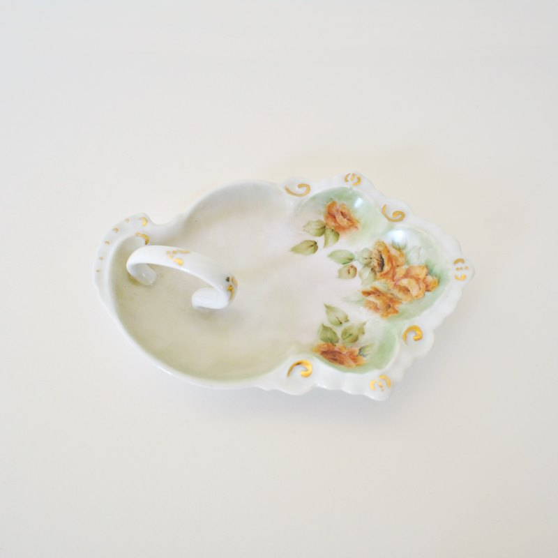 Floral Nappy Dish or Lemon Dish – Burnt Orange and Dark Peach Handled Dish