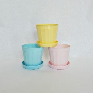 Mid century flower pots - pink, aqua and yellow plastic