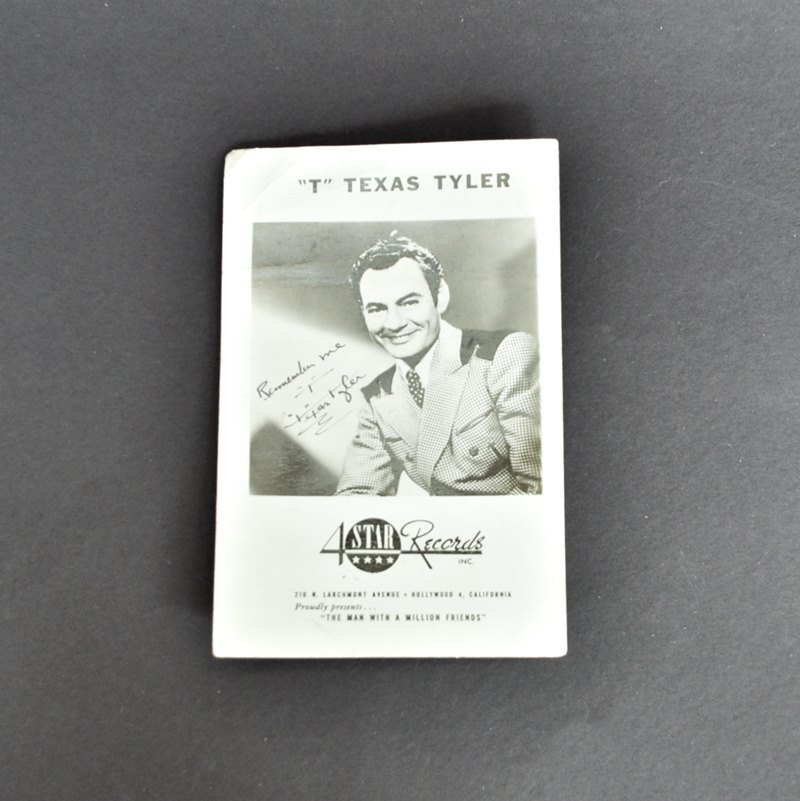 """T"" Texas Tyler promotional postcard"