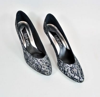 Vintage 1980s 8N Shoes - Glitter Black and Silver Lace
