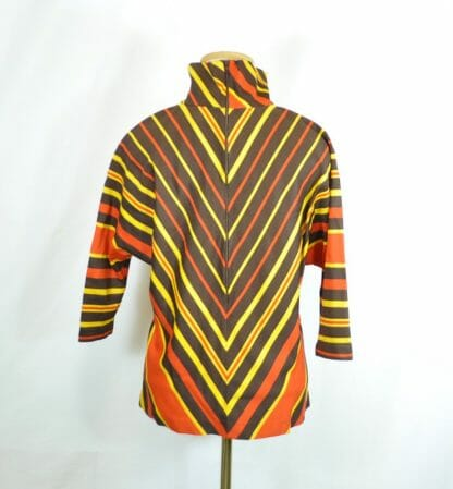 Vintage Batwing Top - Chevron Pattern in Fall Colors