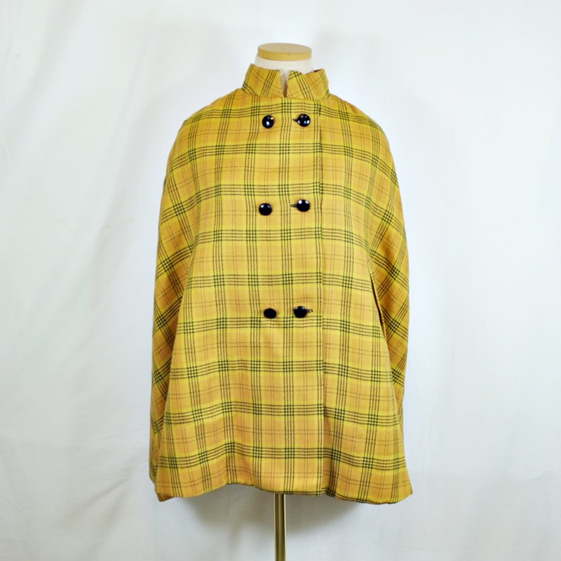 Vintage 1960s Gold Plaid Cape