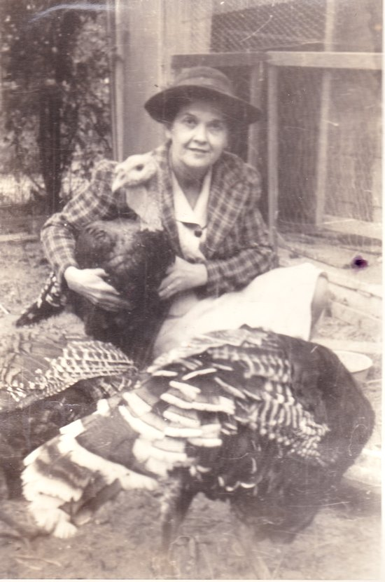 Vintage Photograph of a Lady and Her Thanksgiving Turkeys