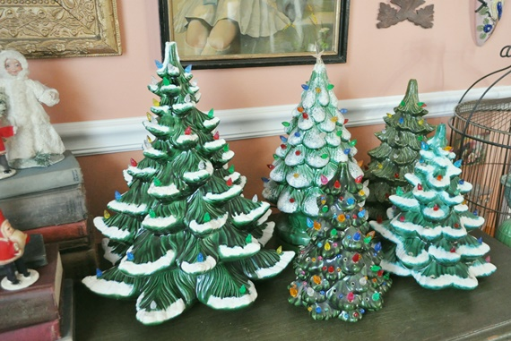 Display of ceramic Christmas trees