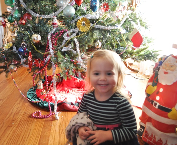 Toddler decorated Christmas tree