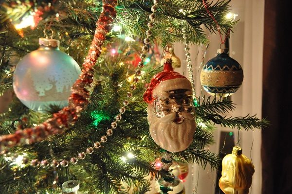 Close up of Christmas ornaments on the tree