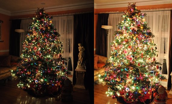 Traditional vintage style Christmas tree lit at night