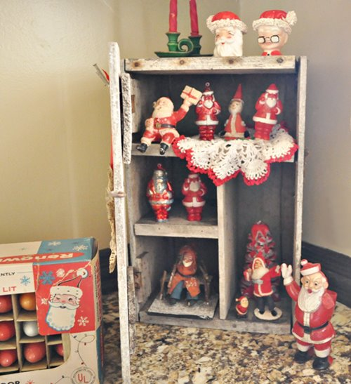 Vintage Santa collection display