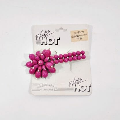 1980s Barrette - Burgundy Beads in Flower Shape