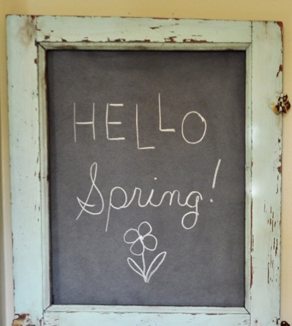 Antique double pane door upcycled into a kitchen chalkboard door.