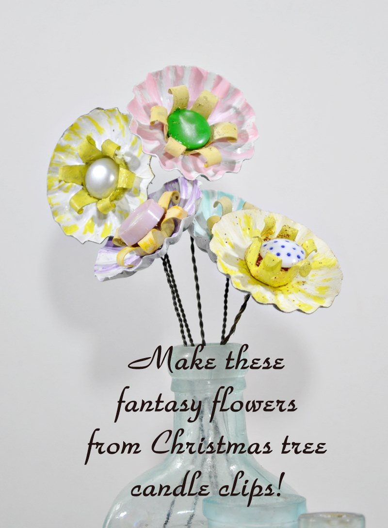 Fantasy flowers made from Christmas tree candle clips
