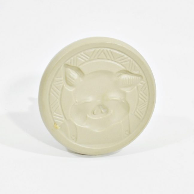 Three Little Pigs Brown Bag cookie stamp - Bottom - Image of One Pig Face