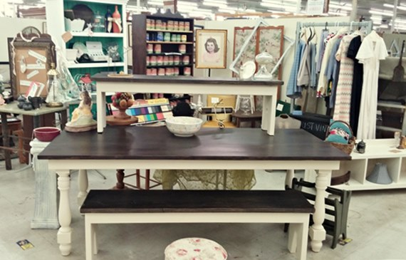 Hand built farm table and benches