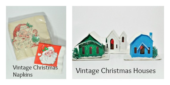 Vintage Christmas houses and napkins