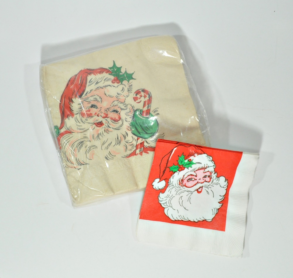 1960's Vintage Christmas Santa Paper Napkins