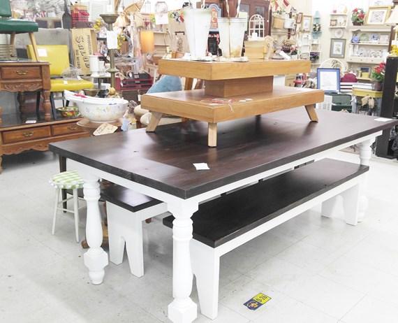 Hand built farm table and MCM coffeetable