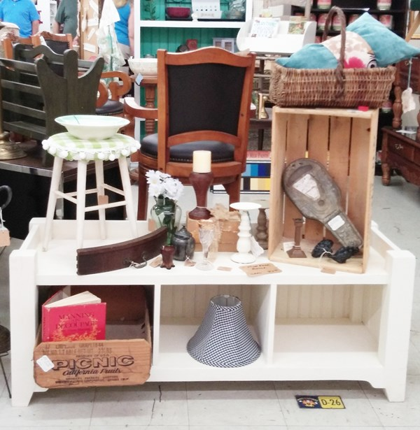 Mud room bench in the latest booth display