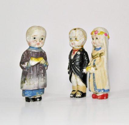 Vintage wedding cake toppers - Bride, groom and preacher