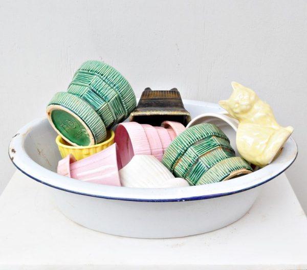 McCoy flower pots in an enamel, baby washtub