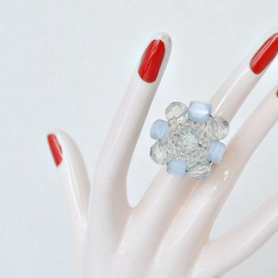 Vintage Earring Ring – Pale Blue & Clear Beaded – Repurposed Jewelry