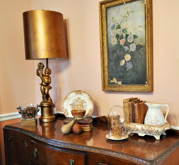 Dining room buffet. Collected treasures.