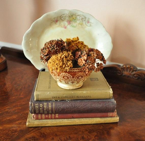 Fall, dried flowers in brown transferware bowl