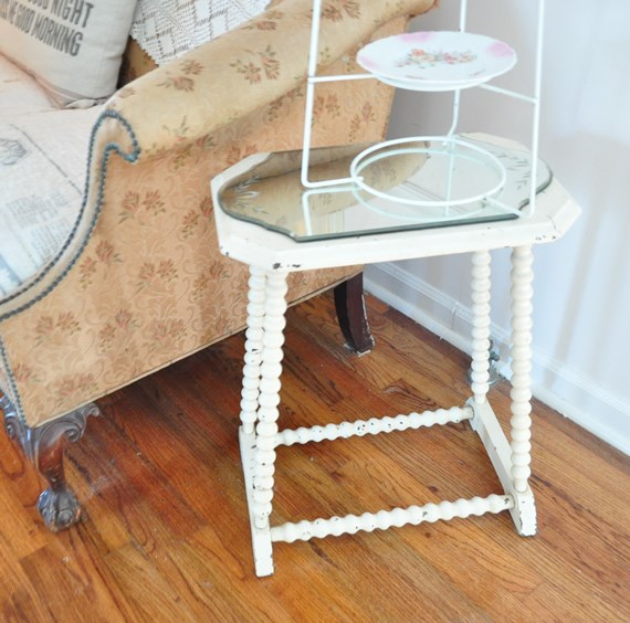 Small, antique, chippy white, spool table