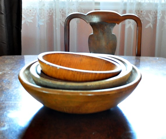 Collection of wooden dough bowls