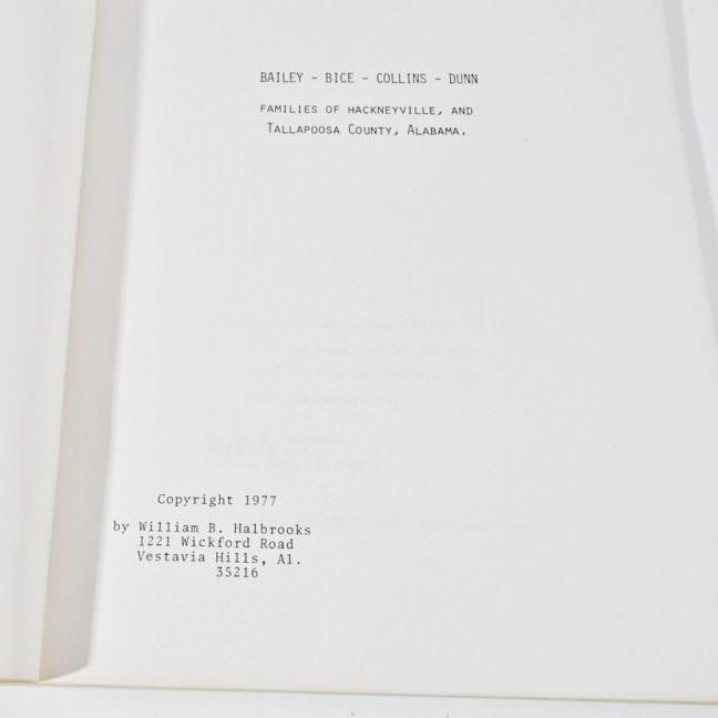 Bailey Bice Collins & Dunn Genealogy Book