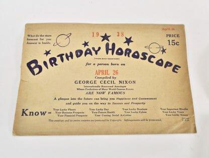 Vintage birthday horoscope - April 26, 1938