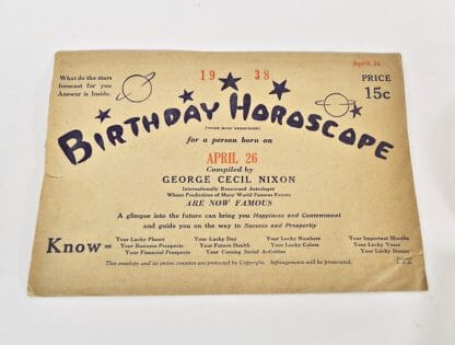 Vintage birthday horoscope - April 26, 1938