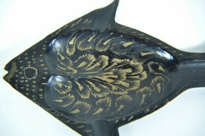 Black and brass fish ashtray