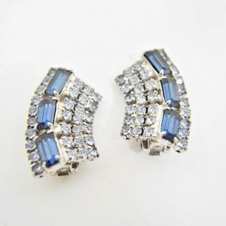 Vintage clip on earrings - Sapphire blue and clear rhinestone baguettes
