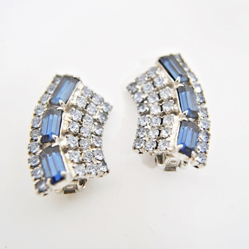 Vintage Clip On Earrings – Sapphire & Clear Rhinestone Baguettes