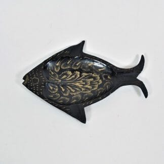 Brass and black fish ashtray